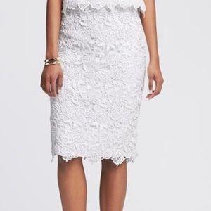 Banana Republic White Lace Midi Skirt